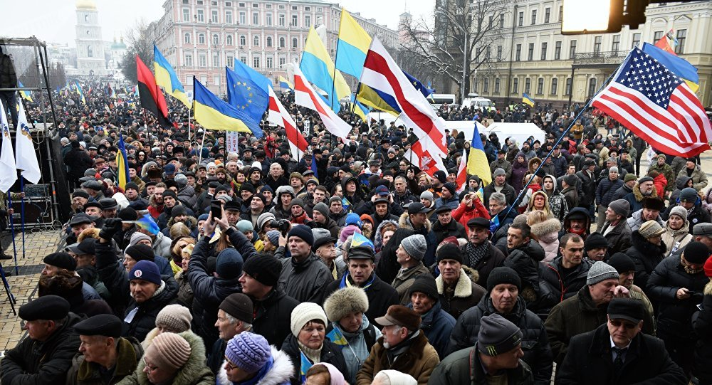 Mikheil Saakashvili's supporters rally in Kiev demanding resignation of Ukraine's incumbent president Petro Poroshenko
