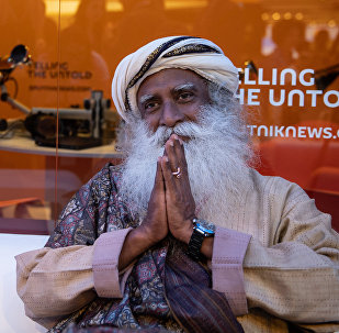 Sadhguru, an Indian yogi, mystic and founder of the Isha Foundation, at the Rossiya Segodnya stand at the 2018 St. Petersburg International Economic Forum
