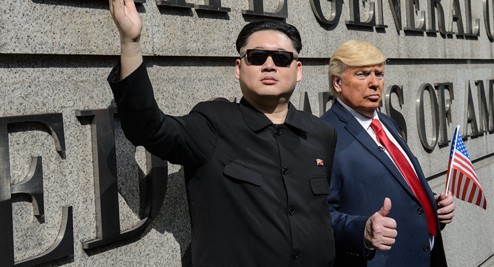 Kim Jong-un and Donald Trump impersonated by two actors