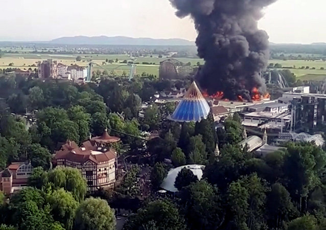 Fire is seen at Europa-Park in Rust, Germany May 26 2018, in this still image obtained from a video by social media