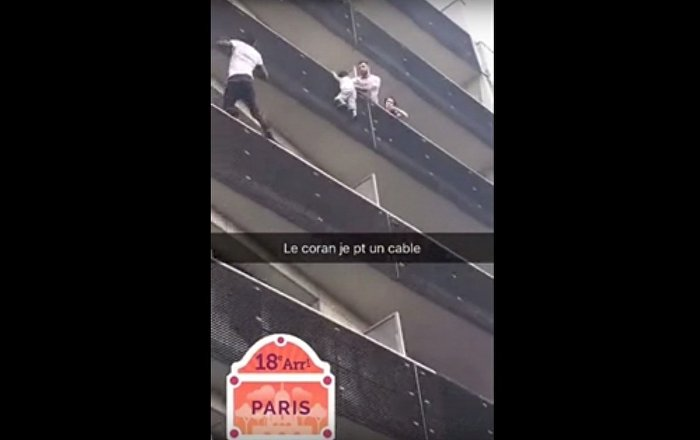 Hero climbs a building with bare hands and no security equipment to save a kid
