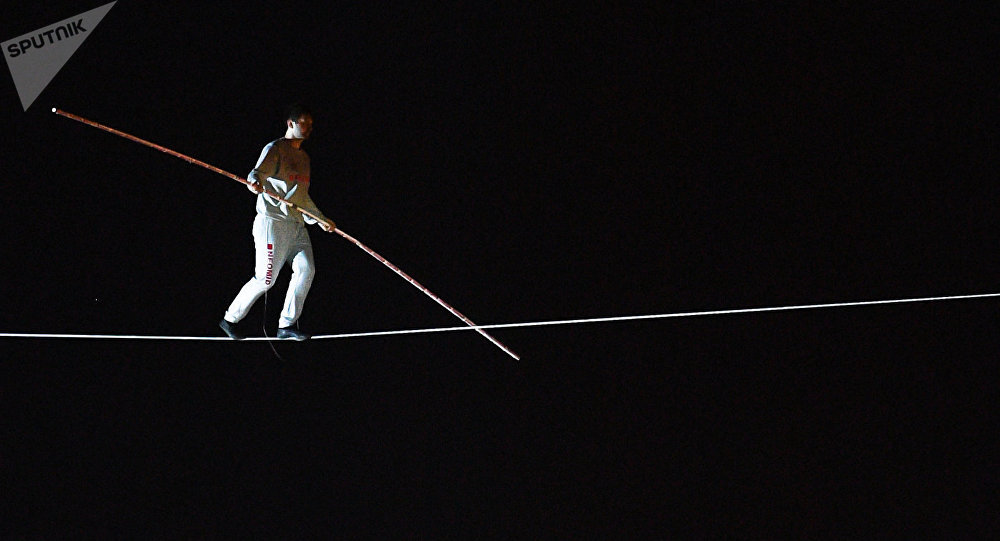 Tightrope walker performing within the frawework of SPIEF celebrations held by St. Petersburg Governor