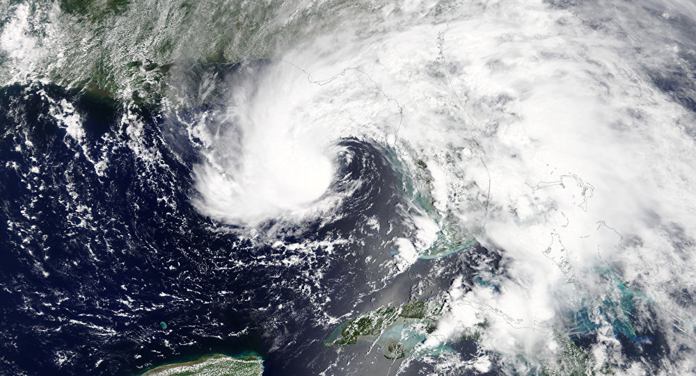 Subtropical Storm Alberto is pictured nearing the Florida Panhandle in this May 27, 2018 NASA handout photo
