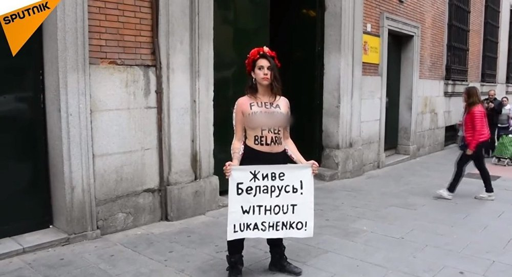 FEMEN Sextremists Hold 'Free Belarus' Protest in Spain