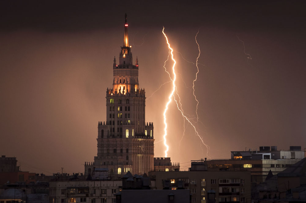 Lightning Bolt Striking Stalin-Era Skyscraper in Moscow