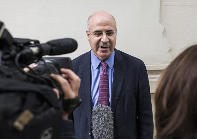 International investor William Browder talks with journalists after a meeting with senior prosecutor Jose Grinda, Madrid