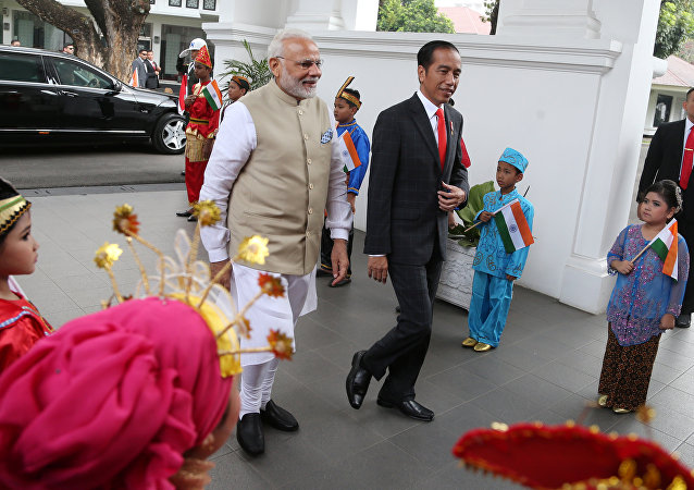 Indian Prime Minister Narendra Modi is greeted by Indonesian President Joko Widodo upon arrival at Merdeka Palace for their meeting in Jakarta, Indonesia May 30, 2018