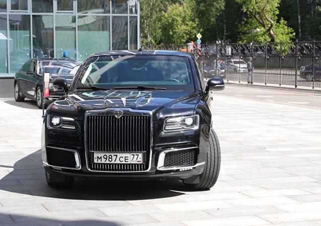 Russian President Vladimir Putin's Kortezh limousine