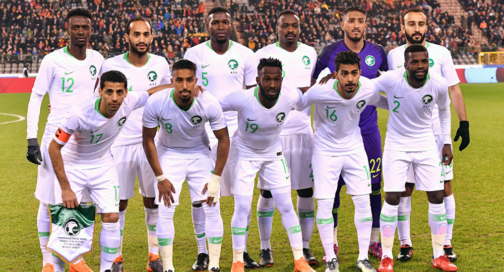 FILE - In this Tuesday, March 27, 2018 file photo, Saudi Arabia's national team poses prior to an international friendly soccer match between Belgium and Saudi Arabia at King Baudouin stadium in Brussels