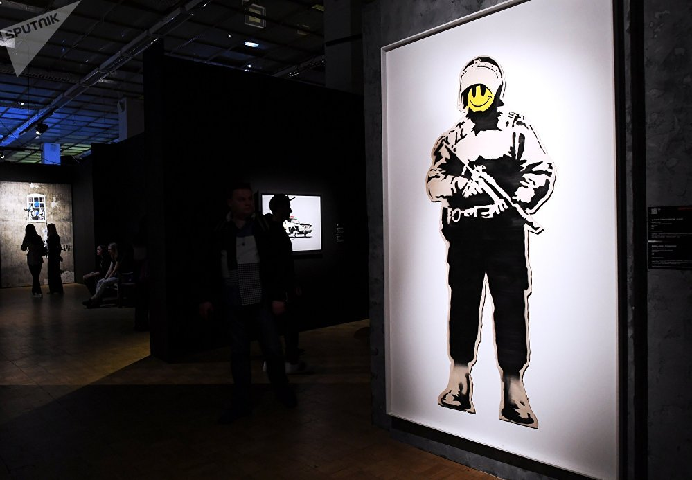 An early show of the exhibition of English street artist Banksy at the Central House of Artist