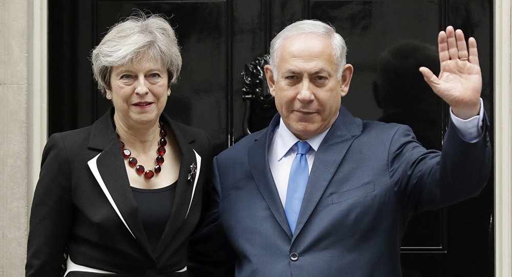 British Prime Minister Theresa May and Israeli Prime Minister Benjamin Netanyahu pose for the media as Netanyahu arrives for their meeting at 10 Downing Street in London, Thursday, Nov. 2, 2017.