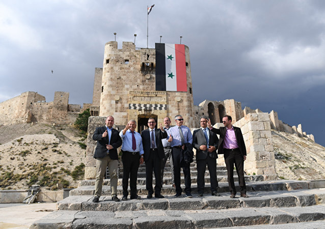 Member of the European Parliament from Germany's National Democratic Party Udo Voigt (2nd-L) visits the Citadel of Aleppo on June 4, 2018