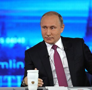 Russian President Vladimir Putin at the Gostiny Dvor studio during the annual Direct Line with Vladimir Putin broadcast live by Russian TV channels and radio stations