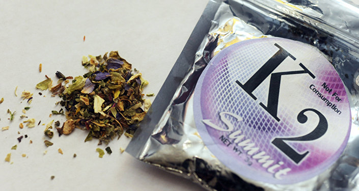 This Feb. 15, 2010, file photo shows a package of K2, a concoction of dried herbs sprayed with chemicals.