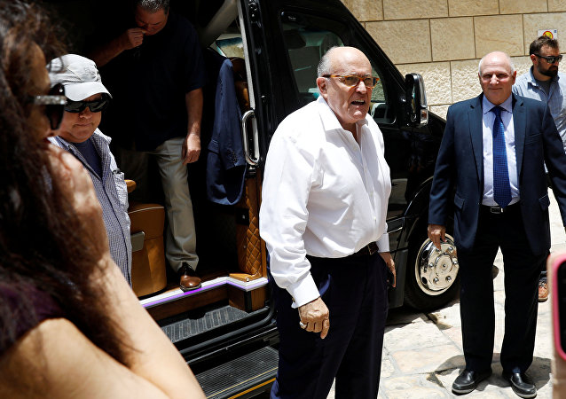 U.S. President Donald Trump's attorney Rudy Giuliani arrives ahead of a visit at the Hadassah Medical Center in Jerusalem, June 7, 2018