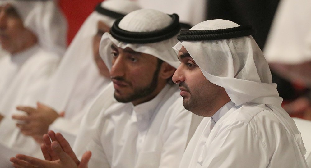 Chairman of Fujairah Culture and Media Authority Rashid bin Hamad Al Sharqi (R) attends the innovation award during the launching of the Innovation Award in the Gulf emirate of Fujairah on March 29, 2018