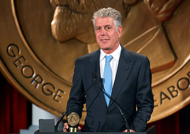 Television personality Anthony Bourdain speaks about the show Parts Unknown after the show won a Peabody Award in New York, U.S., May 19, 2014