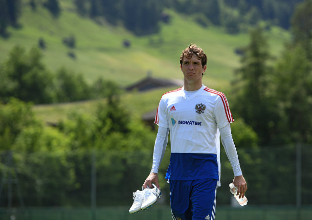Russian National Football Team Player Mario Fernandes after practice in Neustift, 2018