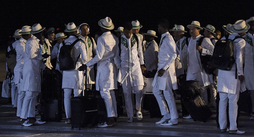 Players and officials of the Nigerian national football team arrive at Mineralnye Vody International Airport on June 11, 2018, ahead of the Russia 2018 World Cup football tournament