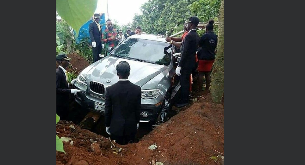Man buries father in BMW