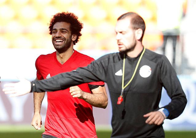 Soccer Football - World Cup - Egypt Training - Ekaterinburg Arena, Yekaterinburg, Russia - June 14, 2018 Egypt's Mohamed Salah during training