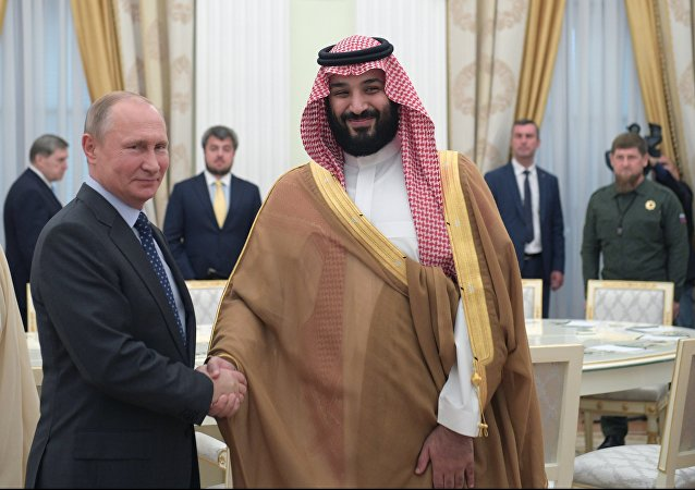 Russian President Vladimir Putin and Saudi Crown Prince, Second Deputy Prime Minister and Defense Minister Mohammad bin Salman Al Saud, right, during a meeting.