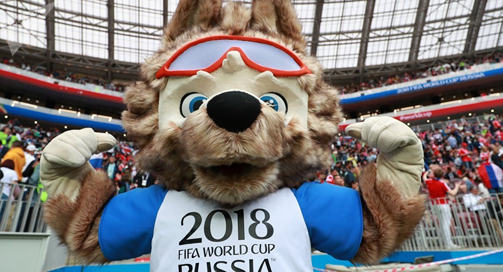 The official mascot of the FIFA World Cup 2018 wolf Zabivaka during the break of the match of the group stage of the World Cup between Russian and Saudi Arabian national teams