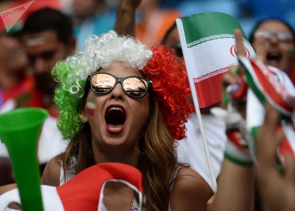 An Iranian national football team fan ahead of a group stage World Cup match between Morocco and Iran at St. Petersburg stadium.