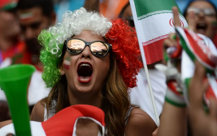 An Iranian national football team's fan ahead of a stage World Cup match between Morocco and Iran at St.Petersburg stadium.