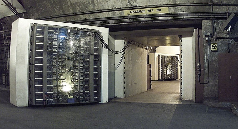 The 25-ton blast door in the Cheyenne Mountain nuclear bunker is the main entrance to another blast door (background) beyond which the side tunnel branches into access tunnels to the main chambers. NORAD, Cheyenne Mountain, Colorado