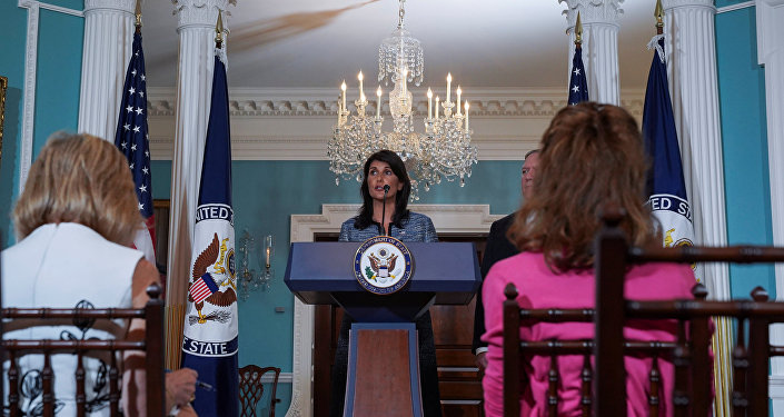 U.S. Ambassador to the United Nations Nikki Haley delivers remarks to the press together with U.S. Secretary of State Mike Pompeo, announcing the U.S.'s withdrawal from the U.N's Human Rights Council at the Department of State in Washington, U.S., June 19, 2018
