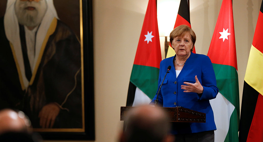 German Chancellor Angela Merkel speaks during a news conference at the Royal Palace in Amman, Jordan June 21, 2018