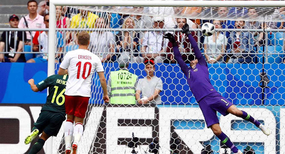 Soccer Football - World Cup - Group C - Denmark vs Australia - Samara Arena, Samara, Russia - June 21, 2018 Denmark's Christian Eriksen scores their first goal past Australia's Mathew Ryan
