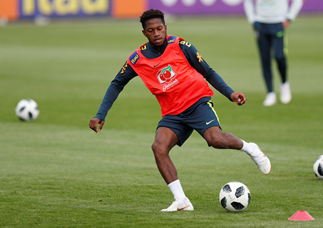 Soccer Football - FIFA World Cup - Brazil Training Camp - Tottenham Hotspur Training Ground, London, Britain - May 30, 2018 Brazil's Fred during training