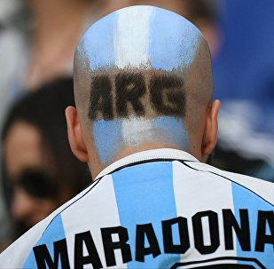 An Argentina's fan waits for the start of the World Cup Group D soccer match between Argentina and Croatia at the Nizhny Novgorod Stadium in Nizhny Novgorod, Russia, June 21, 2018