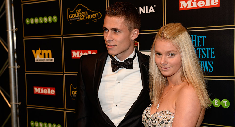 (File) Belgian football Essevee's Thorgan Hazard and his girlfriend Marie pose on the red carpet as they arrive for the 60th edition of the 'Golden Shoe' award ceremony on January 22, 2014 in Lint