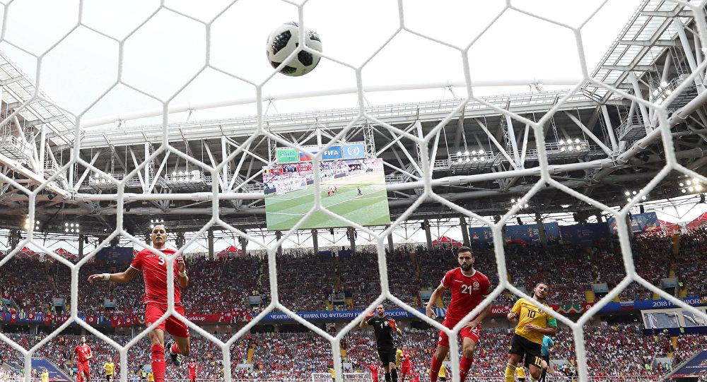 Soccer Football - World Cup - Group G - Belgium vs Tunisia - Spartak Stadium, Moscow, Russia - June 23, 2018 Belgium's Eden Hazard celebrates scoring their fourth goal as Tunisia's Hamdi Nagguez reacts