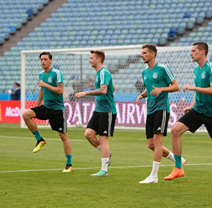 Germany's players warm up during a national soccer team's training session at the Fisht stadium in Sochi, Russia, June 22, 2018
