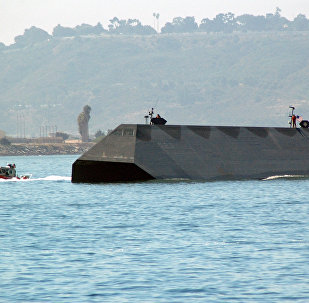 The Navy test craft, Sea Shadow, performs in the Sea and Air Parade held as part of Fleet Week San Diego 2005