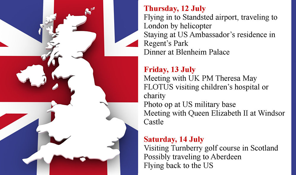 Donald Trump's itinerary during his state visit to the United Kingdom