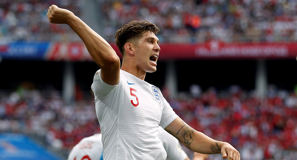 Soccer Football - World Cup - Group G - England vs Panama - Nizhny Novgorod Stadium, Nizhny Novgorod, Russia - June 24, 2018 England's John Stones celebrates scoring their first goal