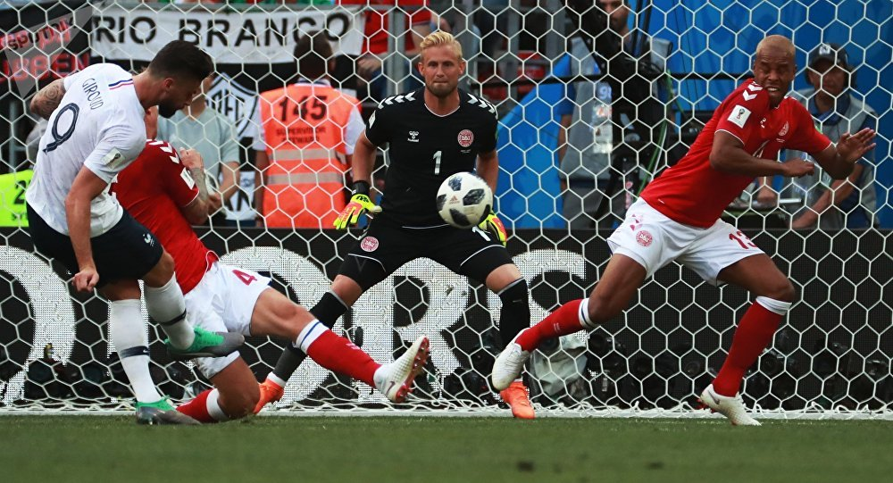 Soccer Football - World Cup - Group C - Denmark vs France - Luzhniki Stadium, Moscow, Russia - June 26, 2018 France's Olivier Giroud has a shot at goal