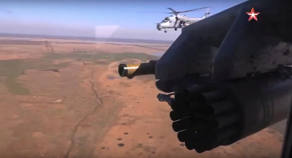 Mi-35M helicopter about to fire S-80FP unguided rockets