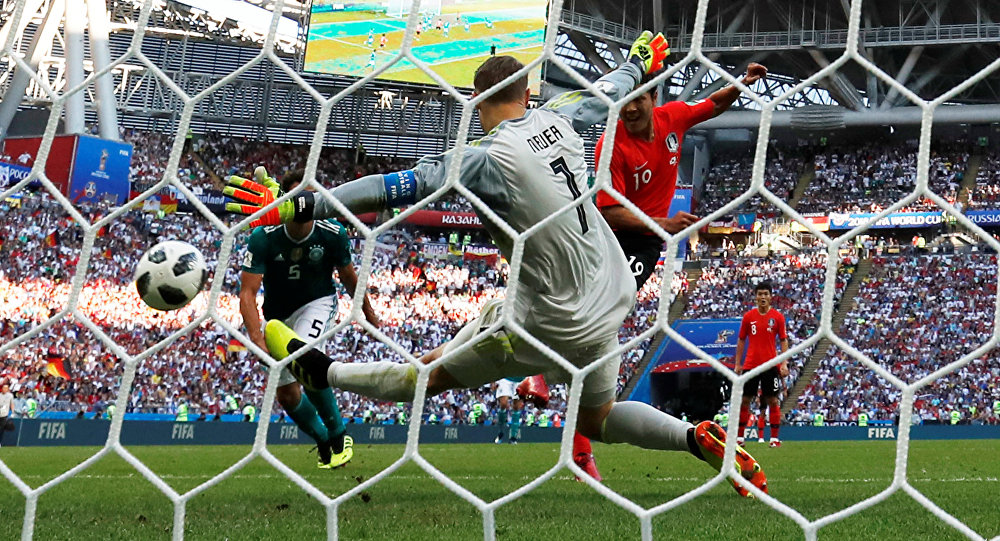 Soccer Football - World Cup - Group F - South Korea vs Germany - Kazan Arena, Kazan, Russia - June 27, 2018 South Korea's Kim Young-gwon scores their first goal past Germany's Manuel Neuer