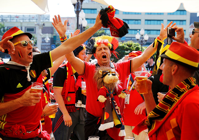 Soccer Football - World Cup - Group G - England vs Belgium - Kaliningrad Stadium, Kaliningrad, Russia - June 28, 2018 Belgium fans outside the stadium before the match