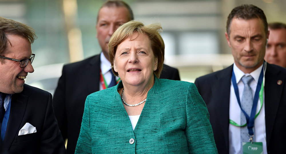 German Chancellor Angela Merkel arrives at a European People's Party (EPP) meeting ahead of a EU summit in Brussels, Belgium June 28, 2018