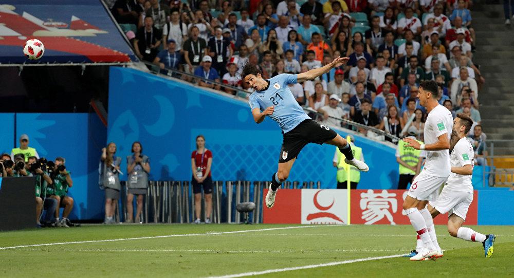 World Cup - Round of 16 - Uruguay vs Portugal - Fisht Stadium, Sochi, Russia - June 30, 2018 Uruguay's Edinson Cavani scores their first goal