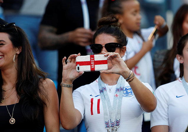 World Cup - Group G - England vs Belgium - Kaliningrad Stadium, Kaliningrad, Russia - June 28, 2018 Rebekah Vardy, wife of England's Jamie Vardy, takes a photo in the stands