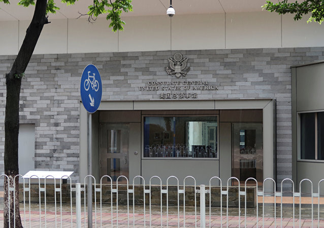 The entrance of the U.S. Consulate in Guangzhou, China June 7, 2018