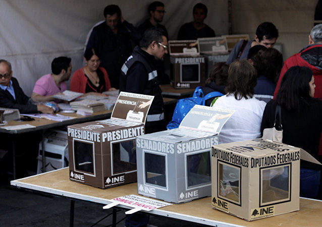 The ballot boxes are seen at a polling station during the presidential election in Mexico City, Mexico July 1, 2018.